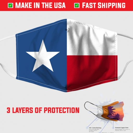texas state flag pattern fabric face mask 155403