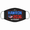 hawron for president 2036 american flag fabric face mask