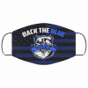 back the blue police badge fabric face mask